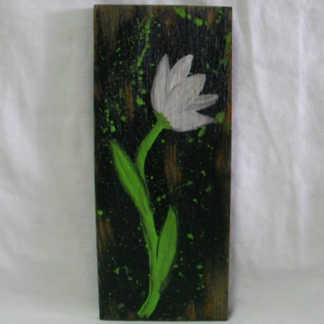 Primitive Original Tulip Flower Painting Funky Folk Art Black White