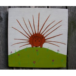 Primitive Funky Porcupine Painting Folk Art on Salvaged Wood