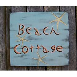 Beach Cottage Sign Primitive Folk Art Original Starfish Painting
