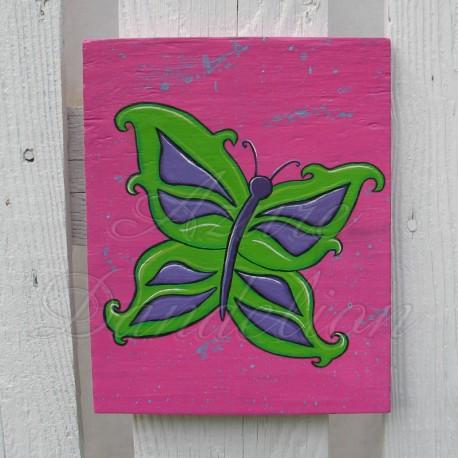 Primitive Funky Lime Green and Purple Butterfly Original Folk Art