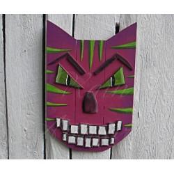 Original Funky Folk Art Magenta Cat Mask Scrap Pile Assemblage Salvage