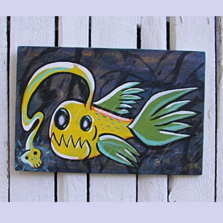 Primitive Funky Folk Art Angler Fish Painting Neon Yellow Big Painting
