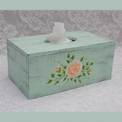 Country Cottage Tissue Box Holder Shabby Light Turquoise With Peach Roses