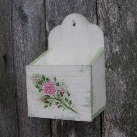 Primitive Wall Box White Cottage Chic Roses Shabby Green Paint