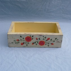 Primitive Folk Art Orange Roses Box Original Painting Country Cottage