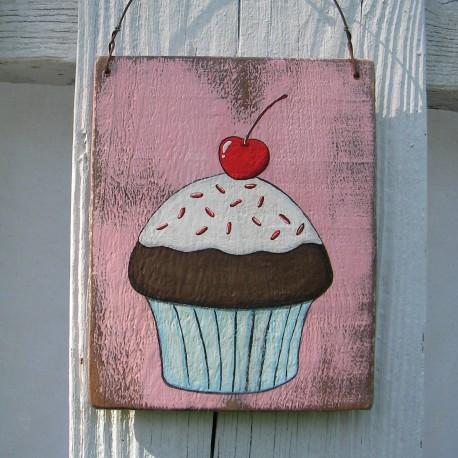 Original Chocolate Cupcake Painting Primitive Folk Art Country Cottage