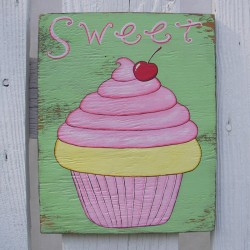 Original Cupcake Painting Country Cottage Chic Lemon Frosting Cherry