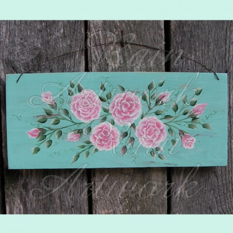 Original Country Cottage Chic Roses Primitive Folk Art Shabby Painting
