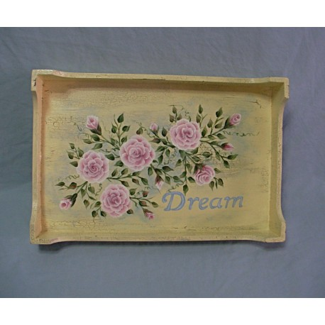 Cottage Chic Pink Roses Painting Antique White Primitive Serving Tray