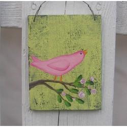 Original Country Cottage Chic Pink Bird on a Rose Branch Folk Art
