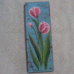 Original Country Cottage Chic Pink Tulips Primitive Folk Art Painting