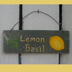 Original Primitive Folk Art Lemon Basil Herb Sign Painting On Gray