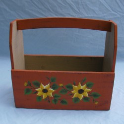 Primitive Folk Art Sunflower GardenTote Original Painting