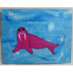 Original Primitive Magenta Walrus Funky Folk Art Painting On Blue