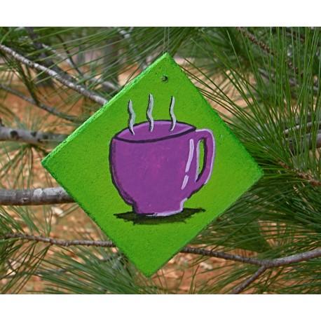 Christmas Ornament Coffee Cup Purple Urban Primitive Folk Art Painting