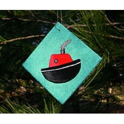Christmas Ornament Primitive Folk Art Tugboat Nautical Decor Original