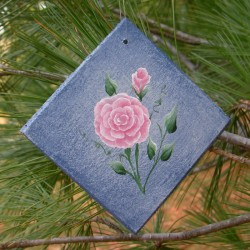 Country Cottage Chic Ornament Pink Roses Primitive Folk Art Painting