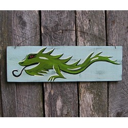 Original Funky Folk Art Japanese Dragon Painting On Salvaged Wood