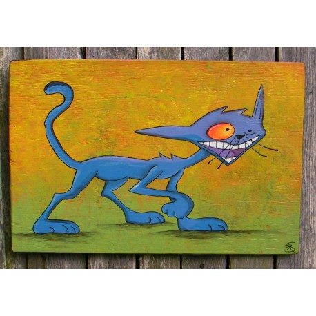Large Funky Blue Seymour the Cat Original Folk Art Painting
