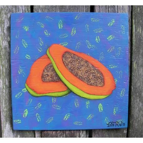 Original Funky Folk Orange Papaya Fruit Painting On Turquoise funky decor