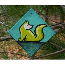 Fox Christmas Ornament Lime Green Primitive Folk Art Original Painting