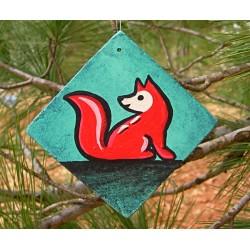 Fox Tree Ornament Red Fox Primitive Folk Art Original Painting