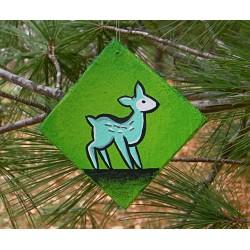 Funky Folk Art Blue Deer Christmas Tree Ornament Original Painting Woodland Animal
