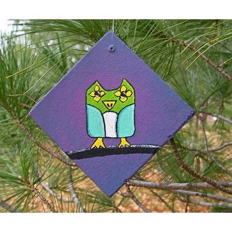 Funky Folk Art Owl Christmas Tree Ornament Primitive Folk Art Original Painting