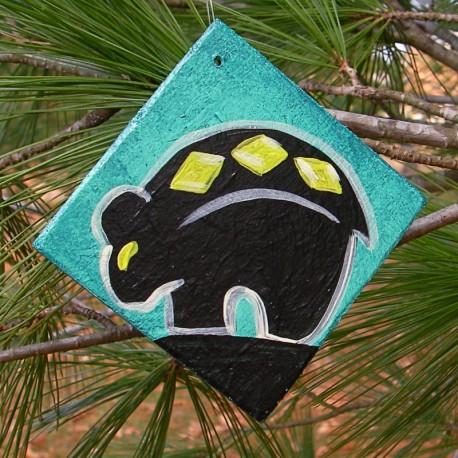 Zuni Black Bear Christmas Tree Ornament Native America Primitive Folk Art Painting