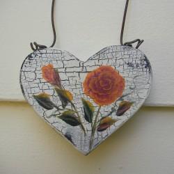 Primitive Heart Orange Roses Christmas Tree Ornament Country Cottage Chic Folk Art