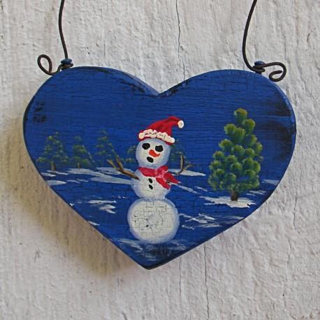 Primitive Heart Christmas Tree Ornament Farmhouse Folk Art Snowman Original Painting