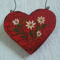Primitive Heart Christmas Tree Ornament Folk Art Daisy Original Farmhouse Painting