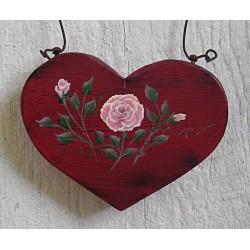 Primitive Heart Pink Rose Christmas Tree Ornament Folk Art Cottage Chic