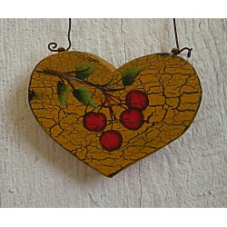 Primitive Christmas Tree Ornament Folk Art Heart Tree Cherry Farmhouse Painting