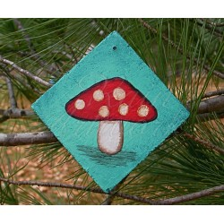 Red Mushroom Christmas Tree Ornament Funky Woodland Folk Art Original Painting