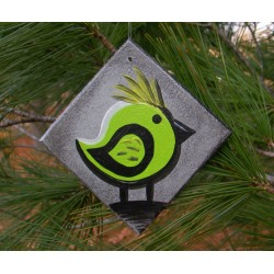 Funky Urban Bird Christmas Tree Ornament Lime Green Primitive Folk Art Painting