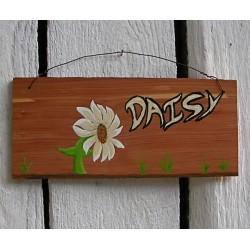 Original Primitive Folk Art Daisy Sign Painting On Salvaged Cedar Wood