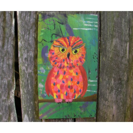 Primitive Funky Orange Owl Painting Folk Art on Salvaged Wood