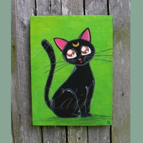 Original Funky Folk Art Black Cat Luna Moon Painting