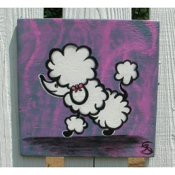 Funky Poodle Shabby Chic Country Cottage Folk Art Painting on Pink