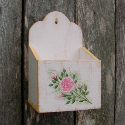 Primitive Folk Art Wall Box White Yellow Cottage Chic Shabby Roses