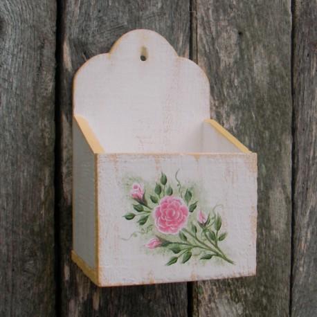 Primitive Folk Art Wall Box White Yellow Cottage Chic Shabby Roses