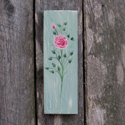 Original Folk Art Pink Rose Bud Cottage Chic Painting Country
