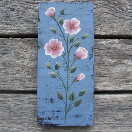Original Country Cottage Chic Pink Wild Roses Primitive Folk Art Paint