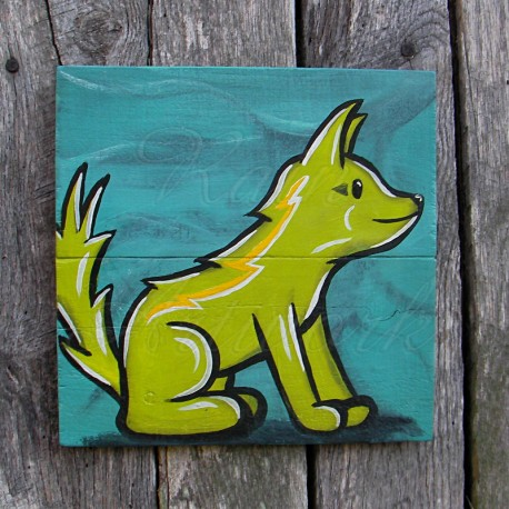 Original Funky Folk Art Lime Green Dog Painting Primitive Folk Art Pup