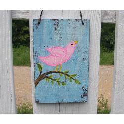 Original Primitive Folk Art Pink Bird on Branch Cottage Chic Painting