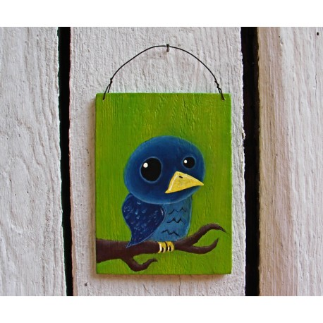Original Primitive Funky Folk Art Blue Bird on Branch Painting