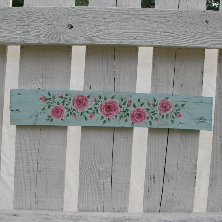 Original Door Topper Country Cottage Chic Pink Roses Primitive Folk Art