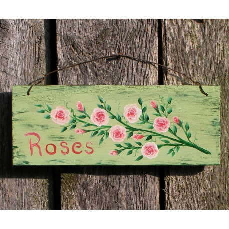Original Primitive Folk Art Roses Cottage Chic Sign Painting Shabby