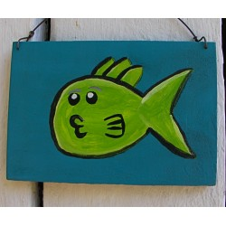 Original Funky Folk Art Lime Green Fishy Kiss Painting On Turquoise